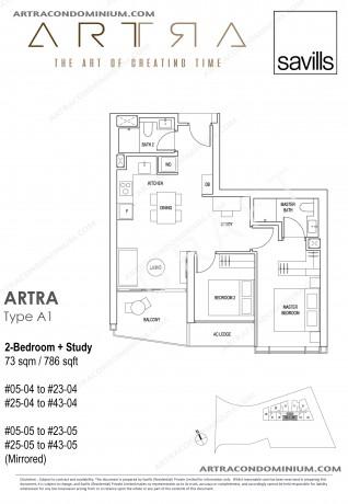 2 Bedroom + Study A2